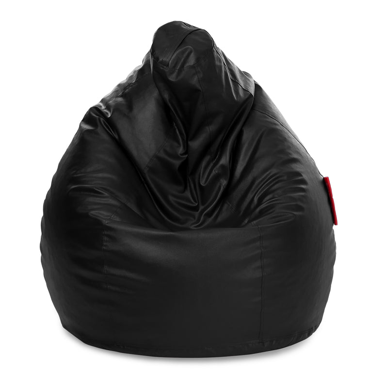 Style Homez Premium Leatherette Classic Jumbo Bean Bag Jumbo Size SAC  Black Color Filled with Beans Fillers