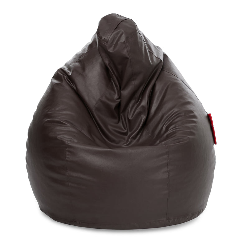 Style Homez Premium Leatherette Classic Jumbo Bean Bag Jumbo Size SAC  Chocolate Brown Color Filled with Beans Fillers