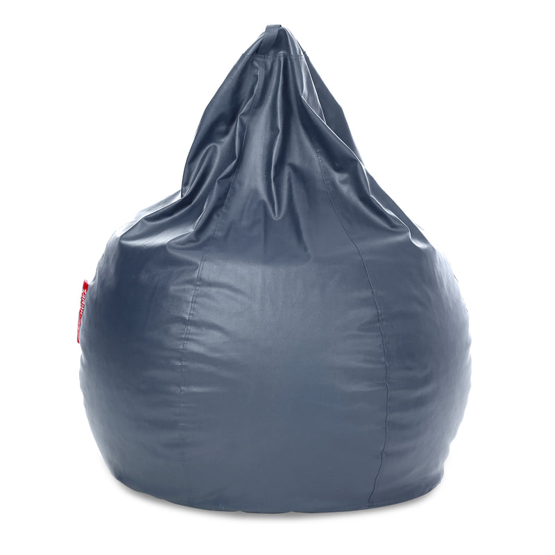 Style Homez Premium Leatherette Classic Jumbo Bean Bag Jumbo Size SAC  Grey Color Filled with Beans Fillers