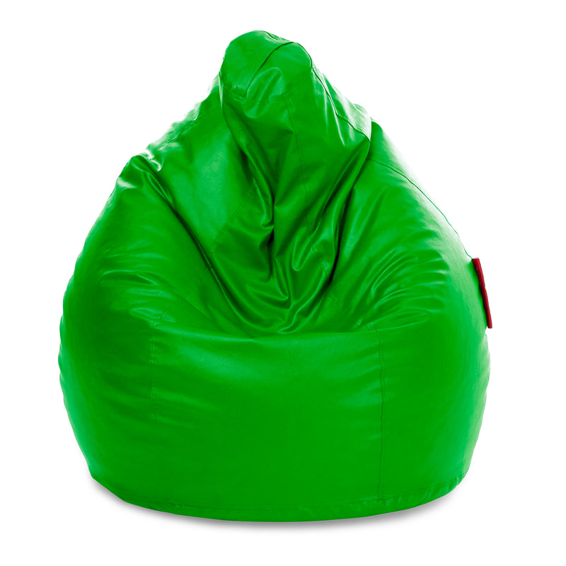 Style Homez Premium Leatherette Classic Jumbo Bean Bag Jumbo Size SAC  Green Color Filled with Beans Fillers