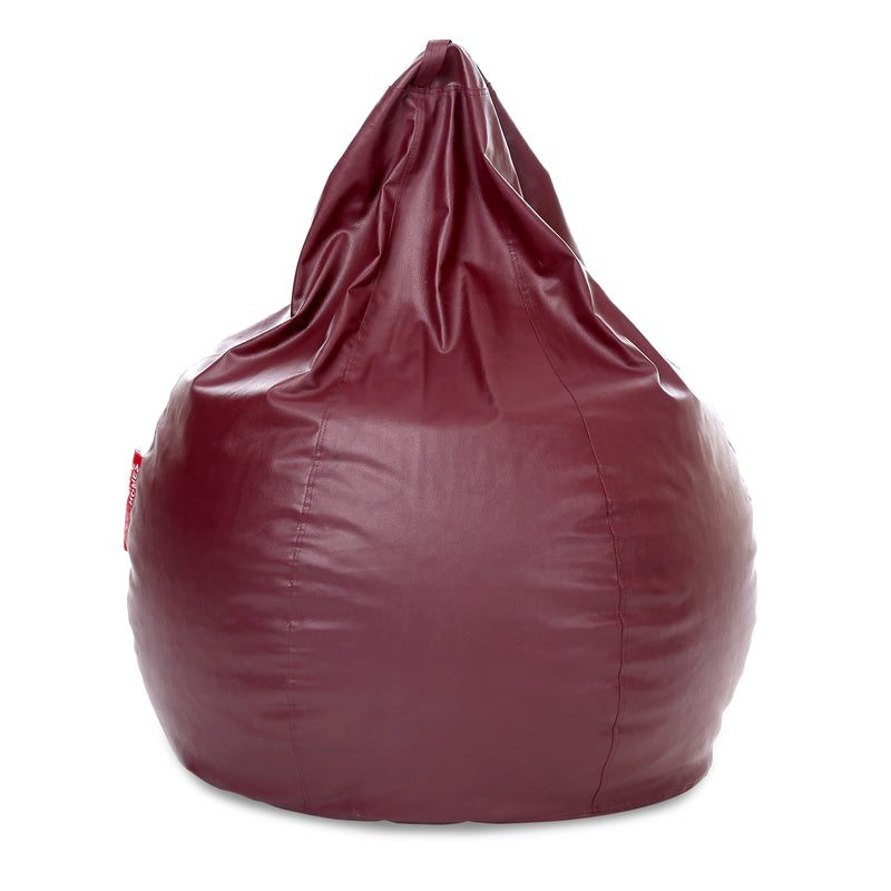 Style Homez Premium Leatherette Classic Jumbo Bean Bag Jumbo Size SAC  Maroon Color Filled with Beans Fillers