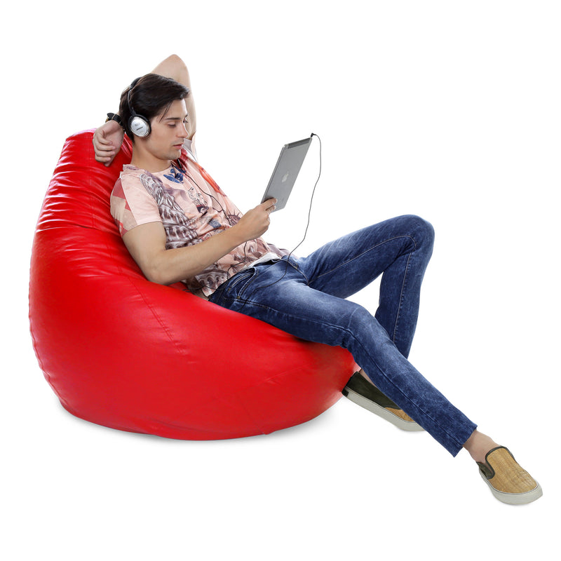 Style Homez Premium Leatherette Classic Jumbo Bean Bag Jumbo Size SAC  Red Color Filled with Beans Fillers