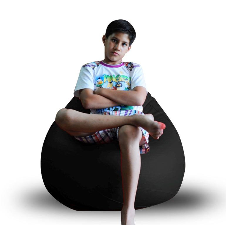 Style Homez Premium Leatherette Classic Bean Bag XL Size Black Color Filled with Beans Fillers