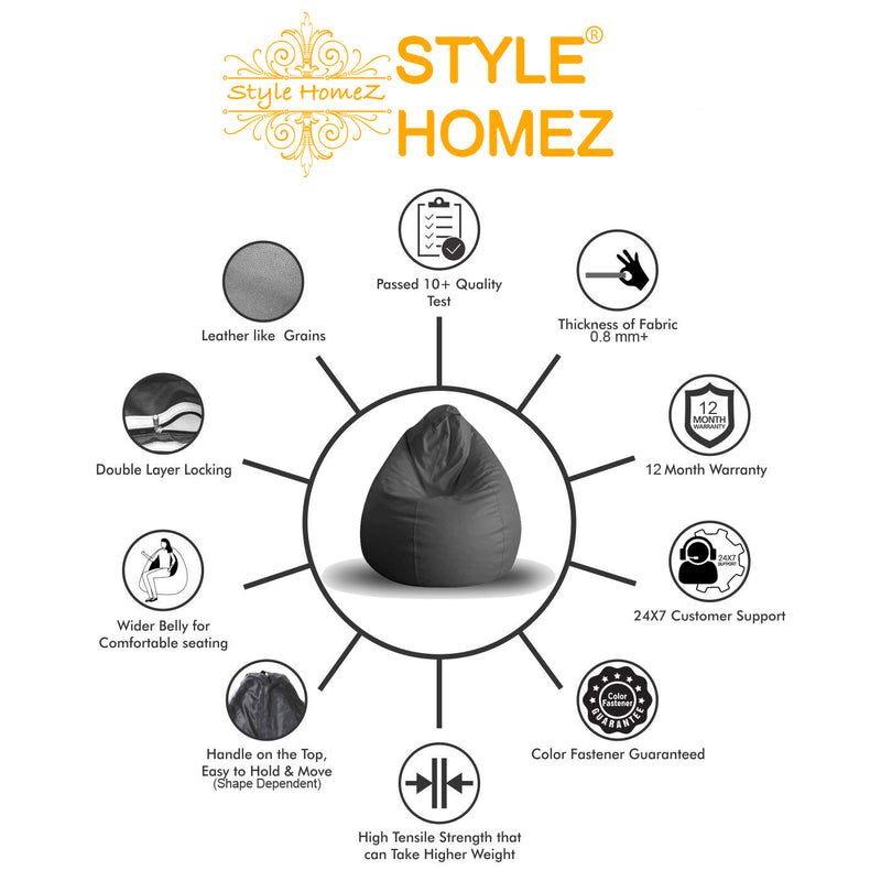 Style Homez Premium Leatherette Classic Bean Bag XL Size Black Color, Cover Only