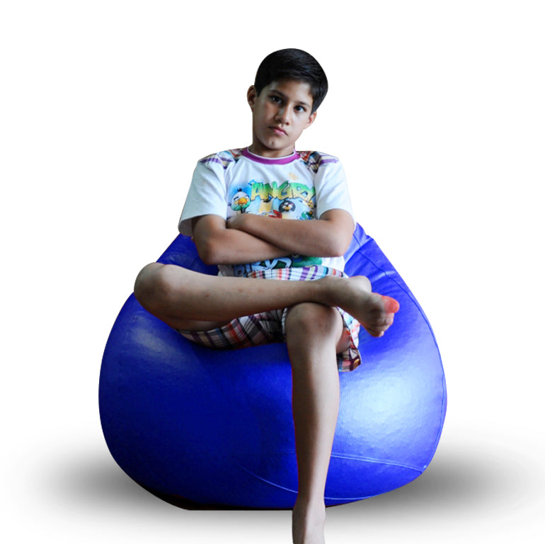 Style Homez Premium Leatherette Classic Bean Bag XL Size Royal Blue Color Filled with Beans Fillers