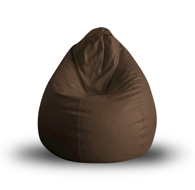 Style Homez Premium Leatherette Classic Bean Bag XL Size Chocolate Brown Color Filled with Beans Fillers