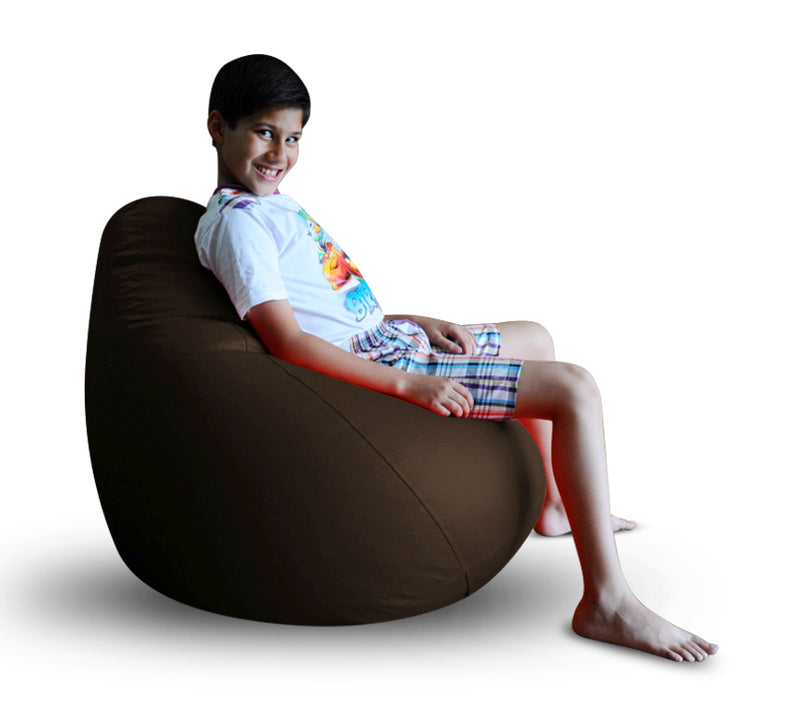 Style Homez Premium Leatherette Classic Bean Bag XL Size Chocolate Brown Color, Cover Only