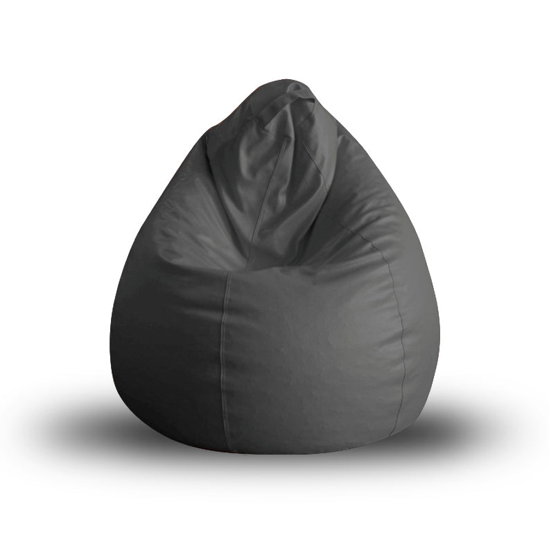 Style Homez Premium Leatherette Classic Bean Bag XL Size Grey Color Filled with Beans Fillers