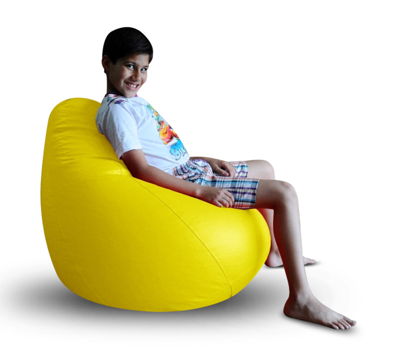 Style Homez Premium Leatherette Classic Bean Bag XL Size Yellow Color, Cover Only