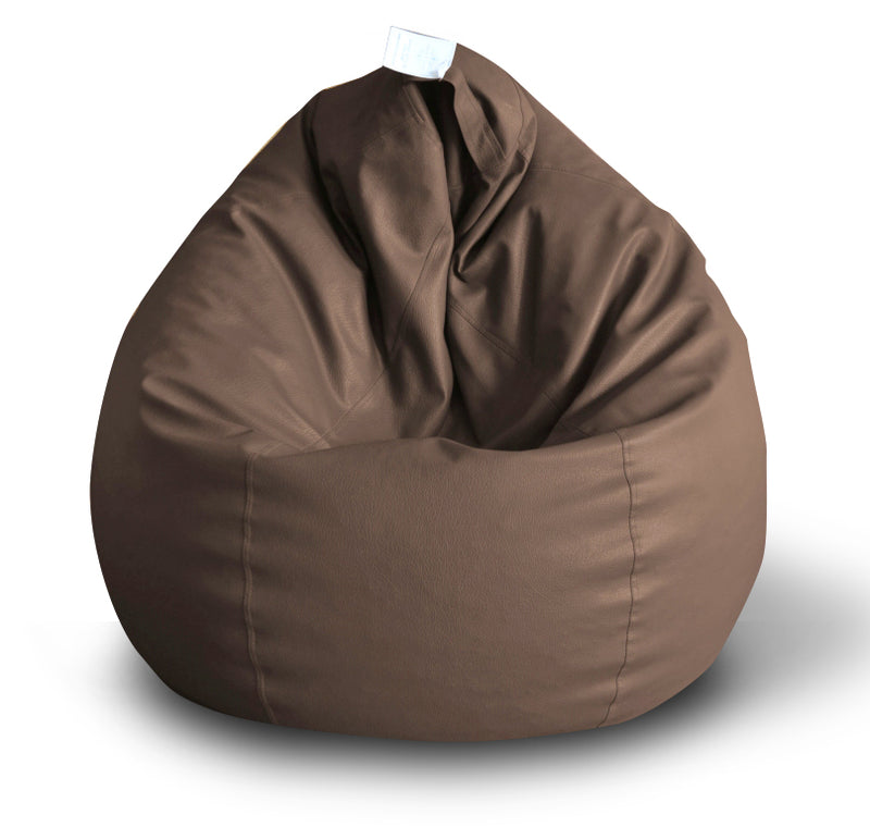 Style Homez Premium Leatherette Classic Bean Bag XXL Size Chocolate Brown Color Filled with Beans Fillers