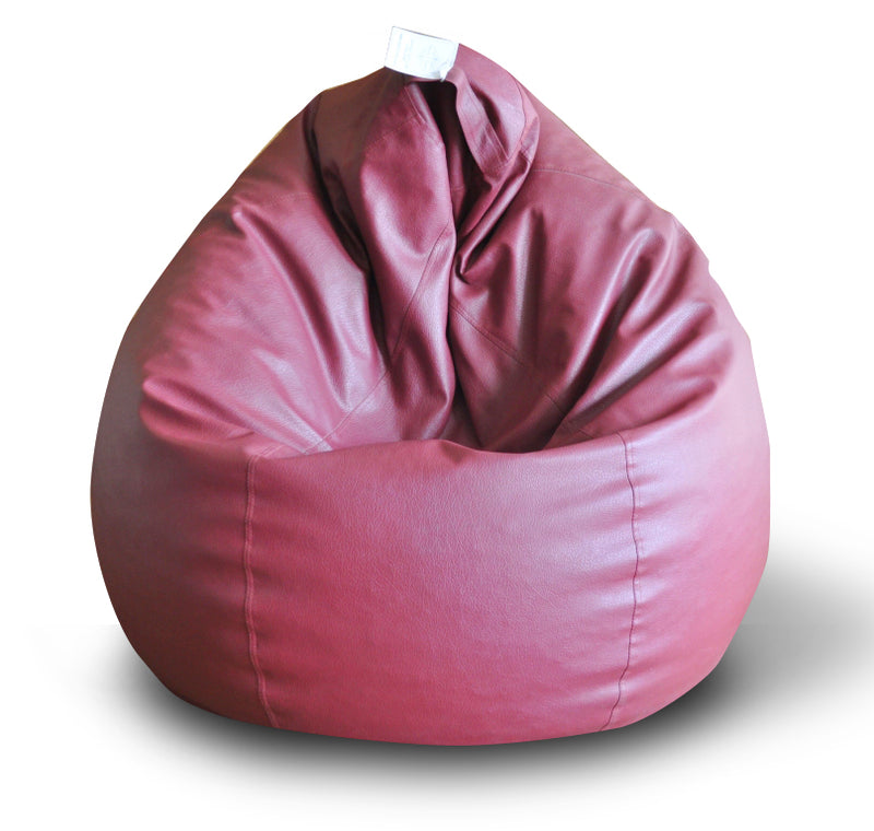 Style Homez Premium Leatherette Classic Bean Bag XXL Size Maroon Color Filled with Beans Fillers