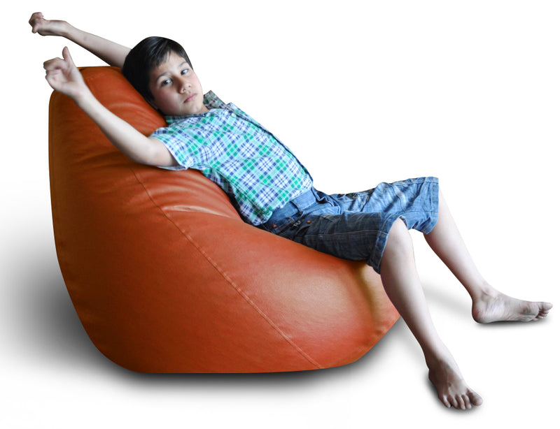 Style Homez Premium Leatherette Classic Bean Bag XXL Size TAN Color Filled with Beans Fillers