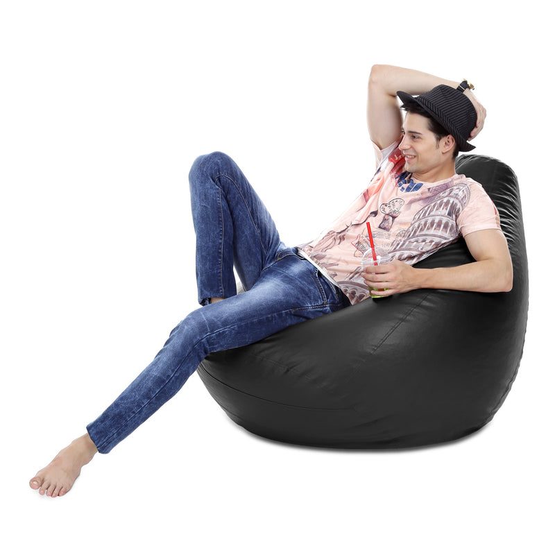 Style Homez Premium Leatherette Classic Bean Bag XXXL Size Black Color Filled with Beans Fillers
