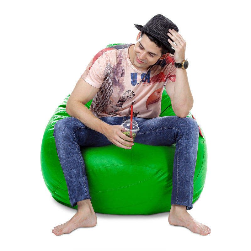 Style Homez Premium Leatherette Classic Bean Bag XXXL Size Green Color Filled with Beans Fillers