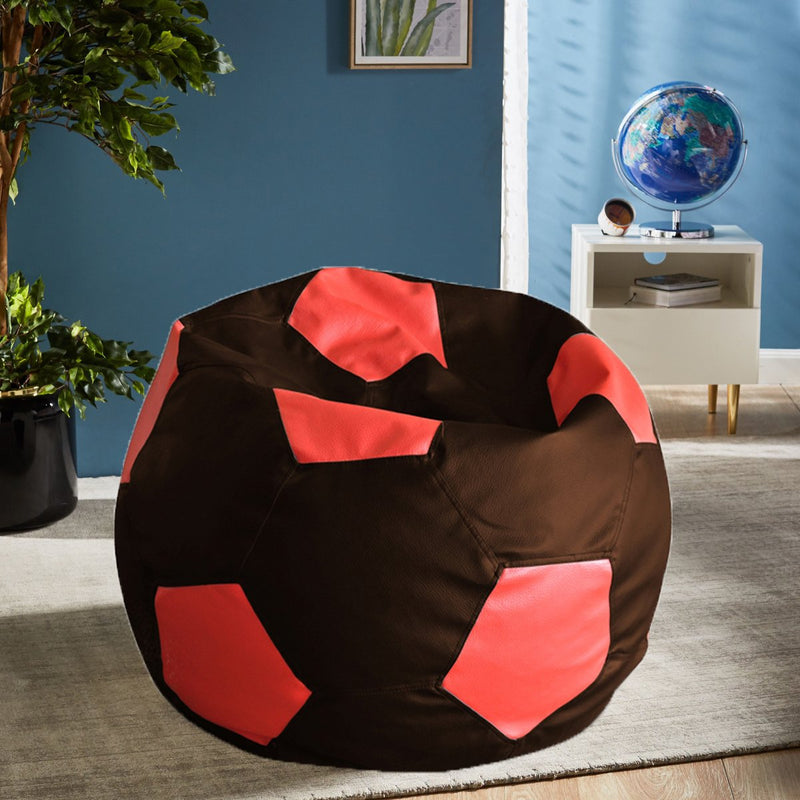 Style Homez Premium Leatherette Football Bean Bag XXL Size Chocolate Brown-Red Color Filled with Beans Fillers