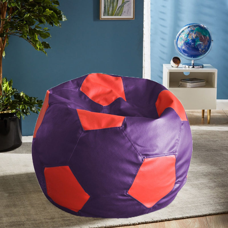 Style Homez Premium Leatherette Football Bean Bag XXL Size Purple-Red Color, Cover Only