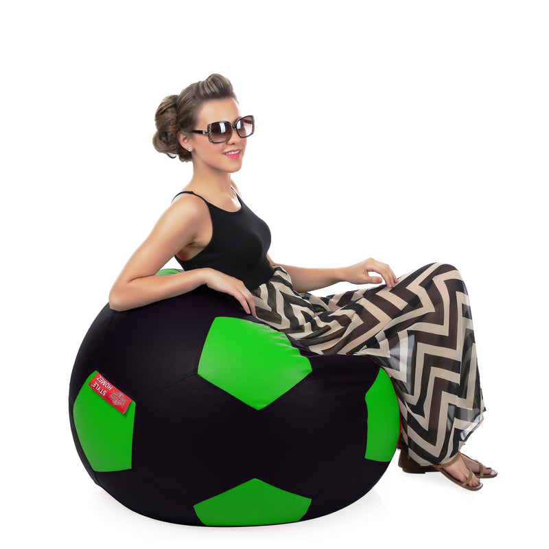 Style Homez Premium Leatherette Football Bean Bag XXXL Size Black-Green Color, Cover Only