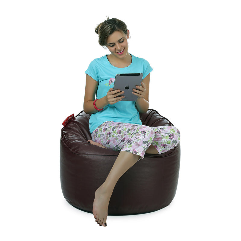Style Homez Premium Leatherette Mooda Rocker Lounger Bean Bag XXL Size Chocolate Brown Color Filled With Beans