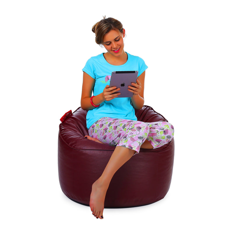 Style Homez Premium Leatherette Mooda Rocker Lounger Bean Bag XXL Size Maroon Color Cover Only