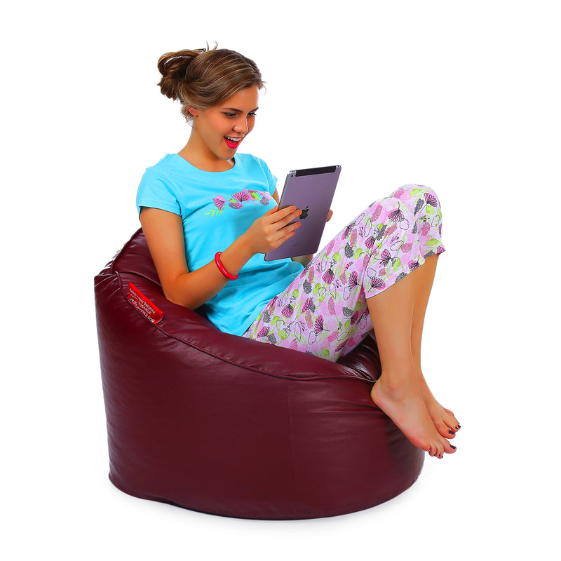 Style Homez Premium Leatherette Mooda Rocker Lounger Bean Bag XXL Size Maroon Color Filled With Beans