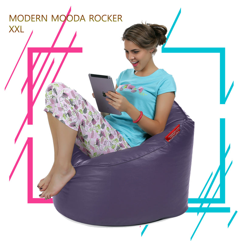 Style Homez Premium Leatherette Mooda Rocker Lounger Bean Bag XXL Size Purple Color Filled With Beans