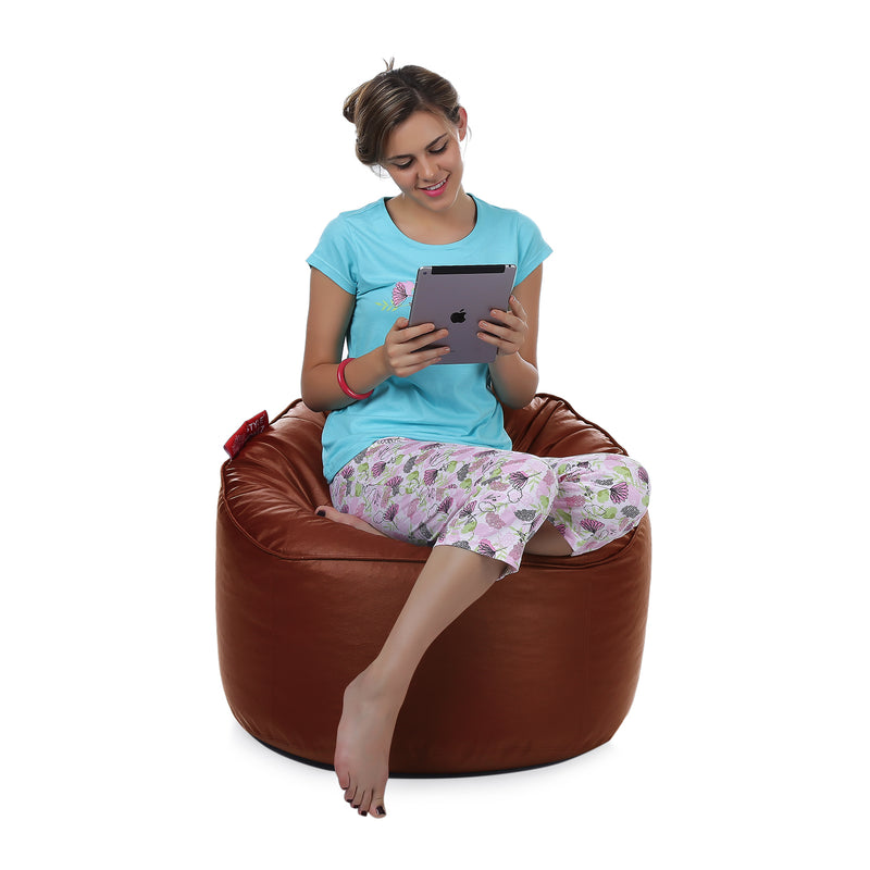 Style Homez Premium Leatherette Mooda Rocker Lounger Bean Bag XXL Size Tan Color Filled With Beans