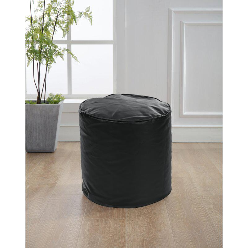 Style Homez Premium Leatherette Classic Bean Bag Ottoman Stool L Size Black Color Filled with Beans Fillers