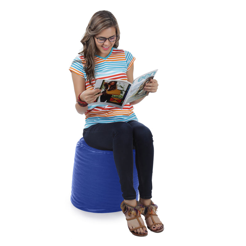 Style Homez Premium Leatherette Classic Bean Bag Ottoman Stool L Size Royal Blue Color Filled with Beans Fillers