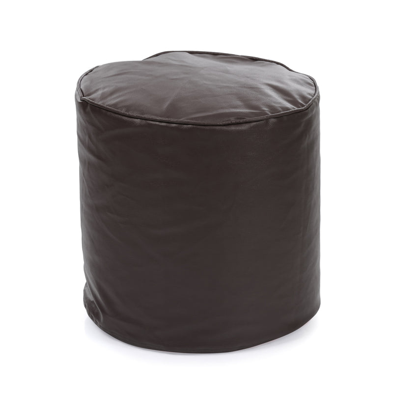 Style Homez Premium Leatherette Classic Bean Bag Ottoman Stool L Size Chocolate Brown Color Filled with Beans Fillers