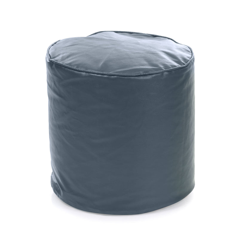 Style Homez Premium Leatherette Classic Bean Bag Ottoman Stool L Size Grey Color Filled with Beans Fillers