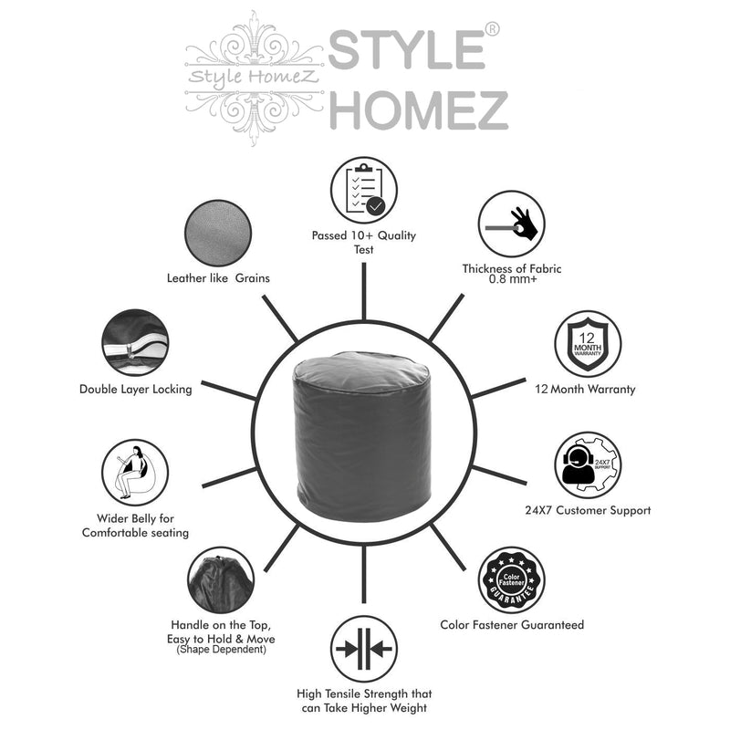 Style Homez Premium Leatherette Round Bean Bag Ottoman Stool L Size Grey Color Cover Only