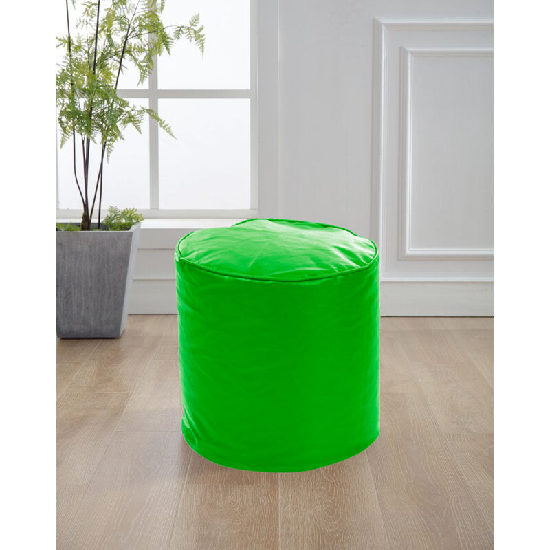 Style Homez Premium Leatherette Classic Bean Bag Ottoman Stool L Size Green Color Filled with Beans Fillers