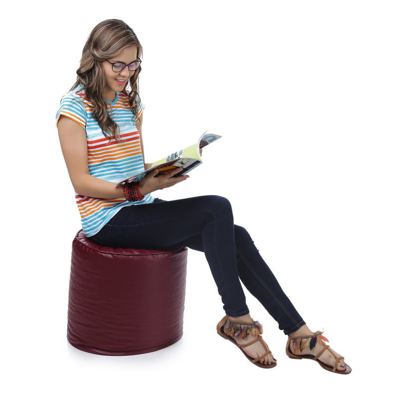 Style Homez Premium Leatherette Classic Bean Bag Ottoman Stool L Size Maroon Color Filled with Beans Fillers