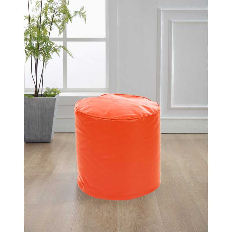 Style Homez Premium Leatherette Round Bean Bag Ottoman Stool L Size Orange Color Cover Only