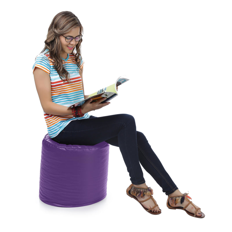 Style Homez Premium Leatherette Classic Bean Bag Ottoman Stool L Size Purple Color Filled with Beans Fillers