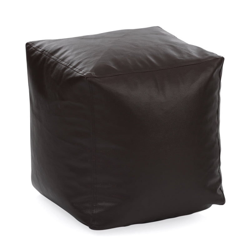Style Homez Premium Leatherette Classic Bean Bag Square Ottoman Stool L Size Chocolate Brown Color Cover Only