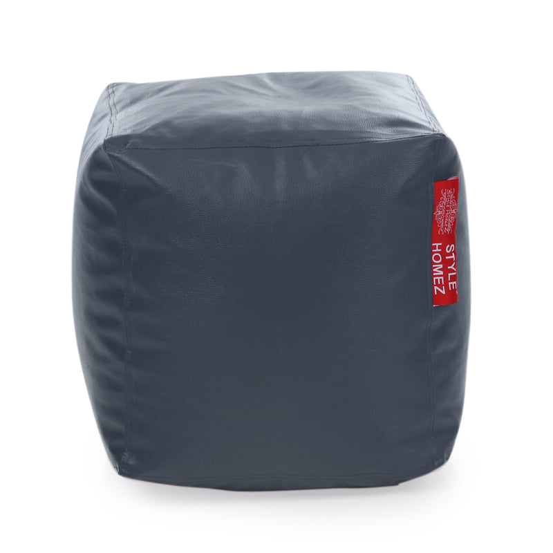 Style Homez Premium Leatherette Classic Bean Bag Square Ottoman Stool L Size Grey Color Cover Only