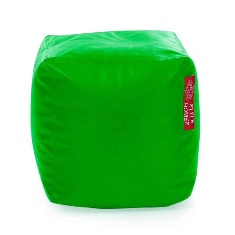 Style Homez Premium Leatherette Classic Bean Bag Square Ottoman Stool L Size Green Color Cover Only