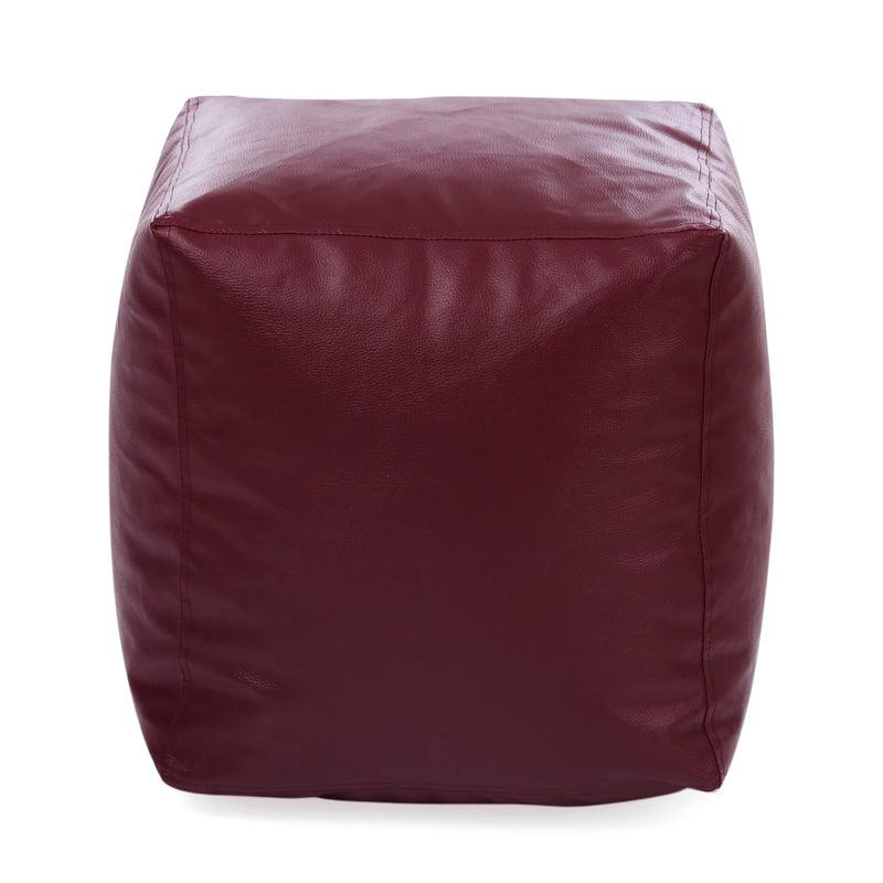 Style Homez Premium Leatherette Classic Bean Bag Square Ottoman Stool L Size Maroon Color Filled with Beans Fillers