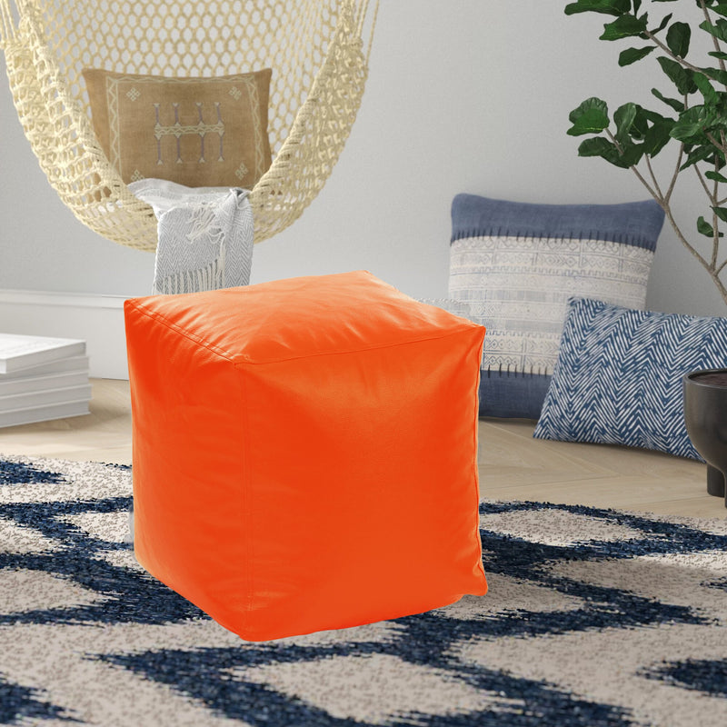 Style Homez Premium Leatherette Classic Bean Bag Square Ottoman Stool L Size Orange Color Filled with Beans Fillers
