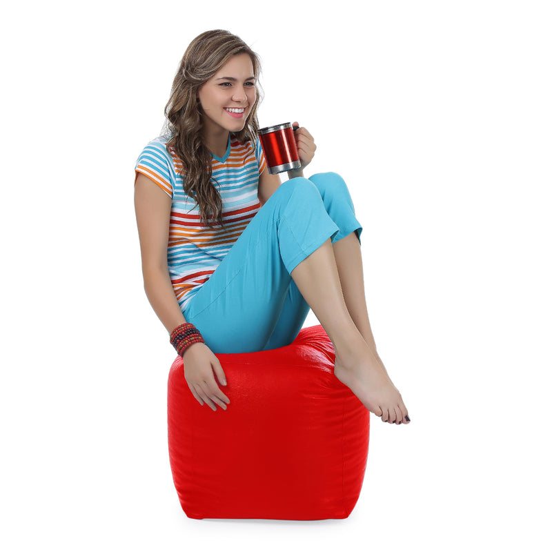 Style Homez Premium Leatherette Classic Bean Bag Square Ottoman Stool L Size Red Color Filled with Beans Fillers