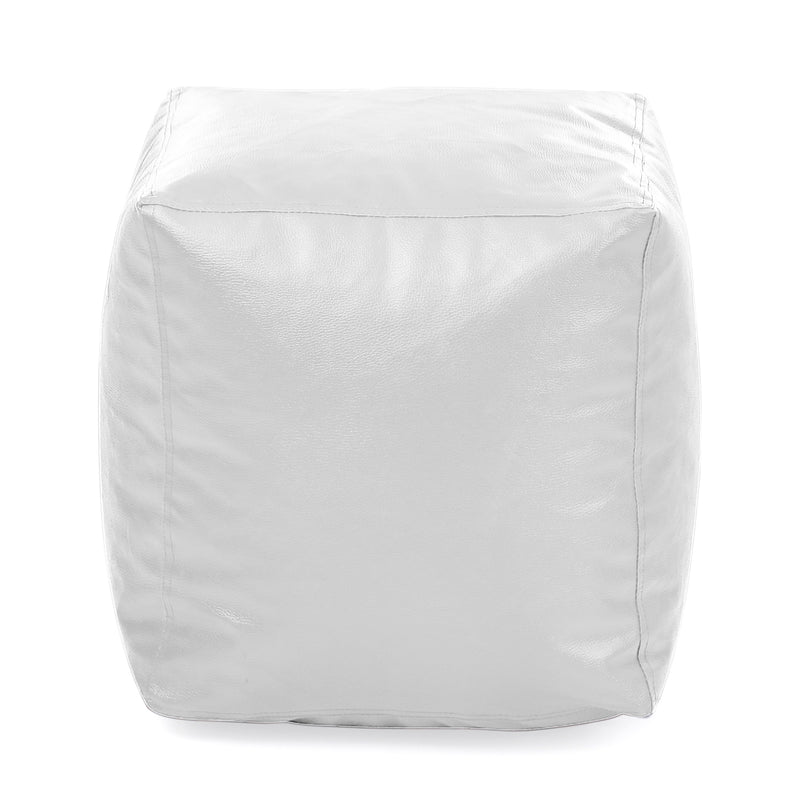 Style Homez Premium Leatherette Classic Bean Bag Square Ottoman Stool L Size Elegant White Color Filled with Beans Fillers