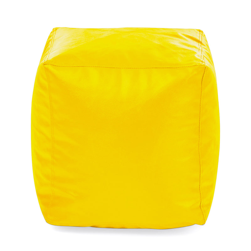 Style Homez Premium Leatherette Classic Bean Bag Square Ottoman Stool L Size Yellow Color Cover Only