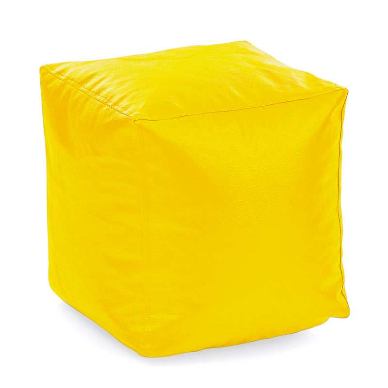 Style Homez Premium Leatherette Classic Bean Bag Square Ottoman Stool L Size Yellow Color Filled with Beans Fillers