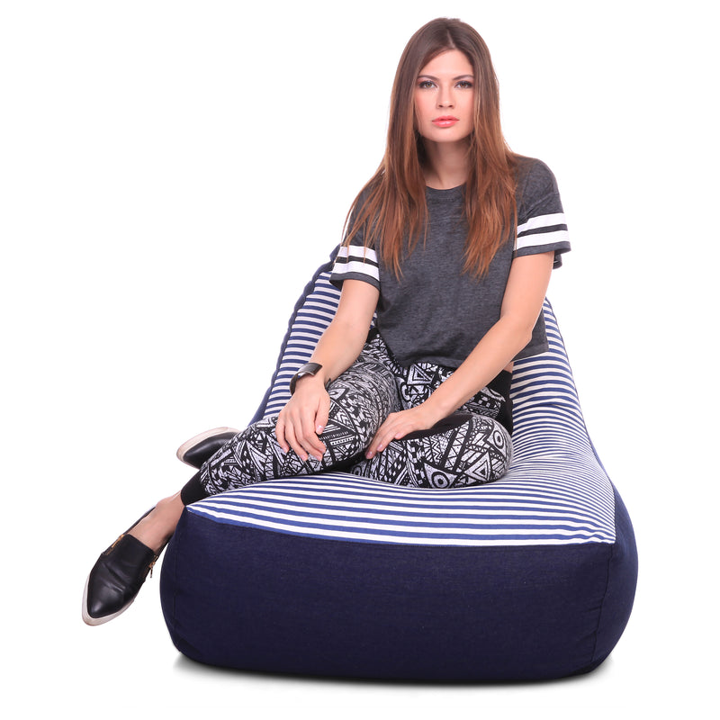 Style Homez Urban Design Denim Canvas Stripes Printed Chair Bean Bag XXL Size Cover Only