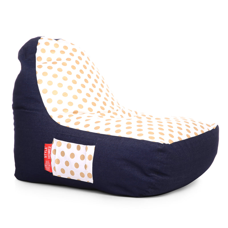 Style Homez Urban Design Denim Canvas Polka Dots Printed Chair Bean Bag XXL Size Filled with Beans Fillers