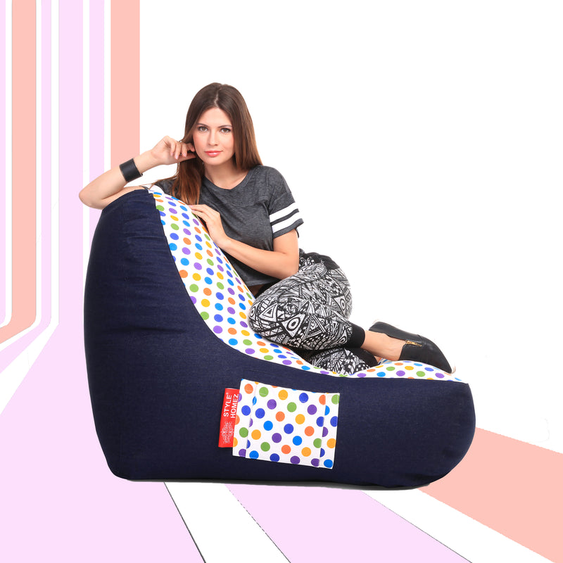 Style Homez Urban Design Denim Canvas Polka Dots Printed Chair Bean Bag XXL Size Cover Only