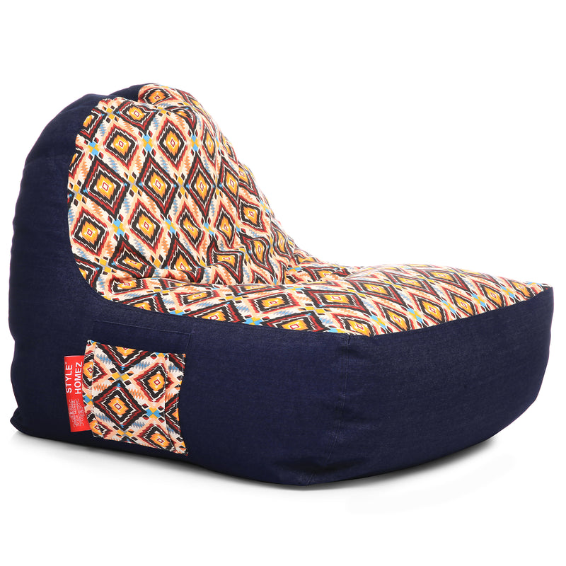 Style Homez Urban Design Denim Canvas Geometric Printed Chair Bean Bag XXL Size Filled with Beans Fillers