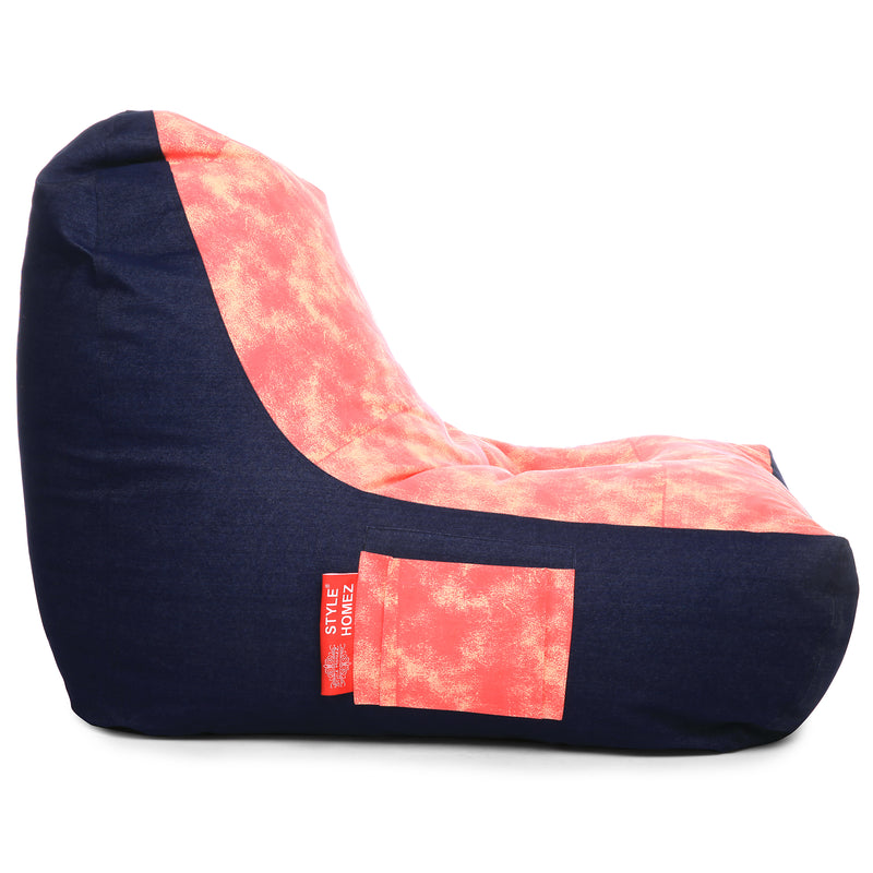 Style Homez Urban Design Denim Canvas Abstract Printed Chair Bean Bag XXL Size Filled with Beans Fillers