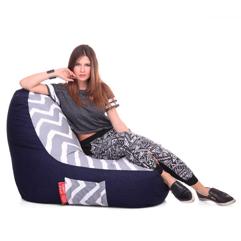 Style Homez Urban Design Denim Canvas Stripes Printed Chair Bean Bag XXL Size Filled with Beans Fillers